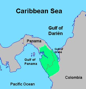 Darién Gap - Map of the Darién Gap at the border between Panama and Colombia