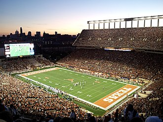 Darrell K Royal–Texas Memorial Stadium - Image: Darrell K Royal Texas Memorial Stadium at Night