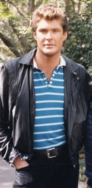 David Hasselhoff - Hasselhoff in costume as Michael Knight in 1986