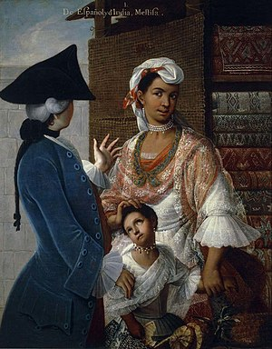 A painting showing a Spanish man with a Native American wife and their child. Mixed-race European Amerindians were referred to as Mestizos. De espanol e india, mestiza.jpg