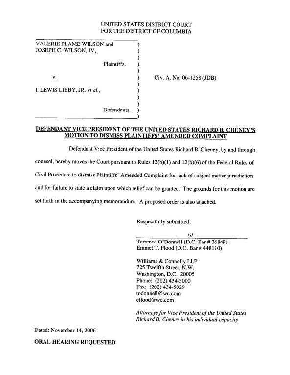 File Defendant Cheney S Motion To Dismiss Pdf Wikimedia