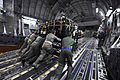 Defense.gov News Photo 110312-F-RW714-139 - U.S. Air Force airmen load a pallet onto a U.S. Air Force C-17A Globemaster III at March Air Reserve Base Calif. on March 12 2011. The supplies.jpg