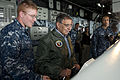 Defense.gov News Photo 120330-D-BW835-005 - Secretary of Defense Leon E. Panetta steers the USS Peleliu LHA 5 while on board in the Pacific Ocean off the coast of San Diego Calif. on March.jpg