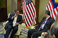 Defense.gov News Photo 120602-D-BW835-713 - Secretary of Defense Leon E. Panetta meets with Malaysian Minister of Defense Ahmad Zahid Hamidi at the Shangri-La Dialogue in Singapore on June 2.jpg