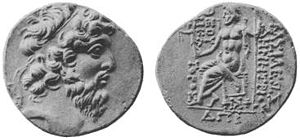"Demetrius II Nicator - Coin of Demetrius II. The reverse shows Zeus bearing Nike. The Greek inscription reads ΒΑΣΙΛΕΩΣ ΔΗΜΗΤΡΙΟΥ ΘΕΟΥ ΝΙΚΑΤΟΡΟΣ, i.e. ""of king Demetrius God victorious"". The date ΔΠΡ is year 184 of the Seleucid era, corresponding to 129–128 BC."