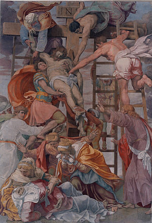 Daniele da Volterra - Daniele da Volterra, Descent from the Cross (circa 1545), after its restoration in 2004; Trinità dei Monti, Rome