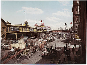 Central Railroad of New Jersey Terminal - Central Railroad of New Jersey's Liberty Street Ferry Terminal in New York City, ca. 1900