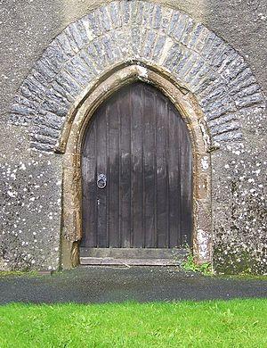 Devil's door - The Devil's door at the Church of St Peter and St Paul, Broadhempston, Devon