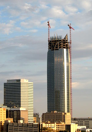 Devon Energy Center under construction, from t...