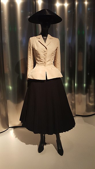 "Christian Dior - The famous ""Bar Suit"" on display at the Denver Art Museum in 2019."
