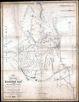 Moreton Bay - Map of Moreton Bay made in 1842 by Robert Dixon (high resolution image)
