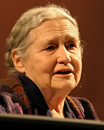 English: Doris Lessing, British writer, at lit...