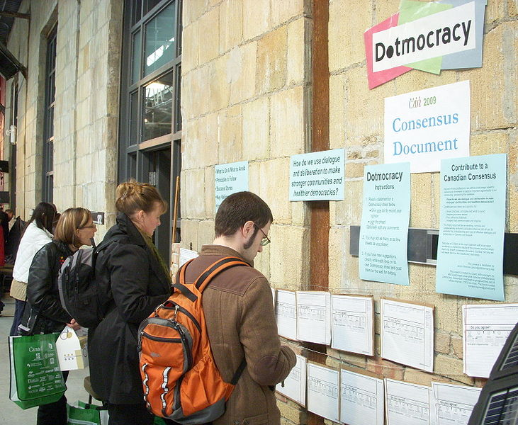 File:Dotmocracy wall at C2D2 2009.jpg