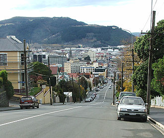 City Rise - Looking down High Street towards the central city, with Signal Hill visible in the background