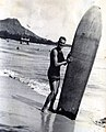 Dr. Cyril Pemberton surfing Waikiki Beach in 1916.jpg