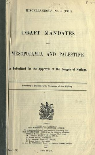 Mandate for Mesopotamia - Draft mandates for Mesopotamia and Palestine as submitted for the approval of the League of Nations on December 7, 1920