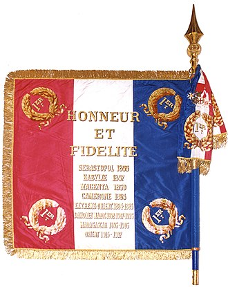 Foreign Legion Pioneers (Pionniers) - Verso Colors of the 1st Foreign Regiment, 1e R.E with Honneur et Fidélité.
