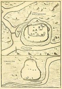Du Halde - Description de la Chine - Villes de Kien ning fou et Tchang tai hien.jpg