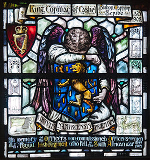 Cormac mac Cuilennáin - Stained glass memorial window from St Patrick's Cathedral, Dublin commemorating King-Bishop Cormac and the Royal Irish Regiment of the Second Boer War.