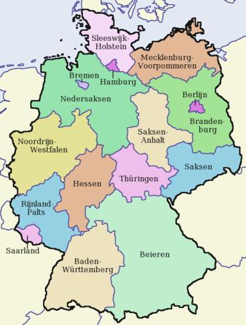 Kaart van de Duitse deelstaten