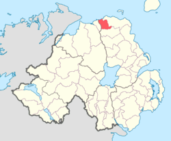 Location of DunluceLower, County Antrim, Northern Ireland.