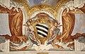 Duomo di viterbo, interno, coro dei canonici, con affreschi di giuseppe passeri, 1683, stemma forse sacchetti 02.jpg