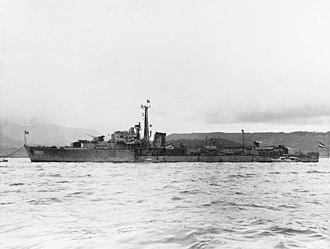 HMS Scourge (G01) - Evertsen (D802) at Yokosuka 1951.