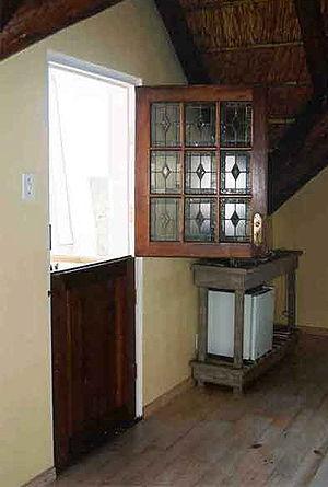 Dutch door - A Dutch door with the top half open, in South Africa
