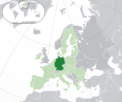 Location of  آلمان  (dark green)– on the European continent  (light green & dark grey)– in the European Union  (light green)  —  [Legend]