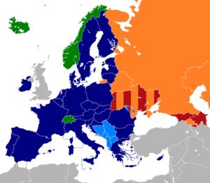 Free trade areas in Europe - Image: EU EFTA CEFTA CISFTA