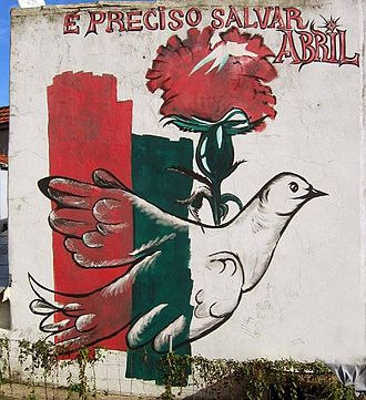 Dianthus caryophyllus - Mural commemorating the Portuguese Carnation Revolution