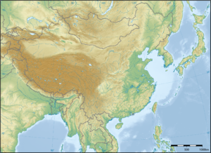 Intraplate deformation - Figure 1: East Asia topographic map. The large brown area is the Tibetan plateau and the Tien Shan mountains to the northwest. Almost the whole central landmass in view is deformed from the collision of India into Asia around 50 million years ago.