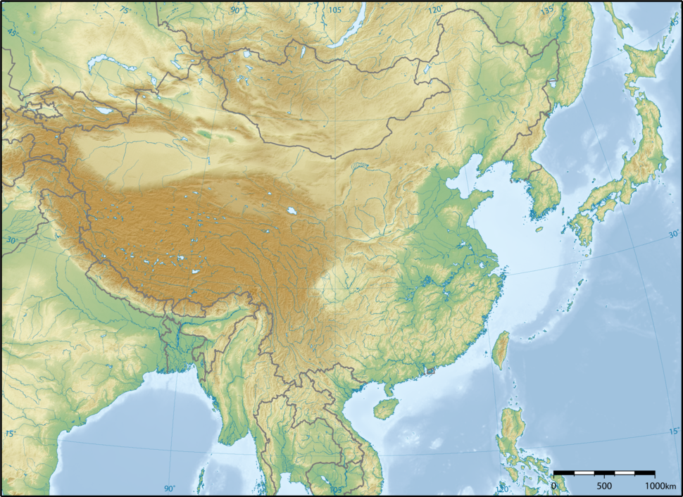 East Asia topographic map