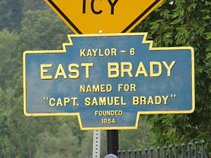 Samuel Brady - A Keystone Marker for East Brady, Pennsylvania, named for Samuel Brady.