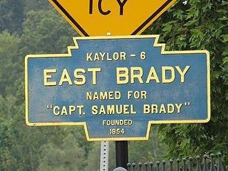 Samuel Brady - A Keystone Marker for East Brady, Pennsylvania, named for Samuel Brady.