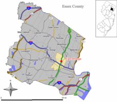 Map of East Orange in Essex County. Inset: Location of Essex County highlighted in the State of New Jersey.