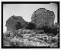 East side, looking west - Pointed Butte Pueblito, Cibola Canyon, Dulce, Rio Arriba County, NM HABS NM-186-2.tif