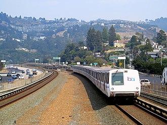 Antioch–SFO/Millbrae line - An eastbound train leaving Rockridge station in 2017