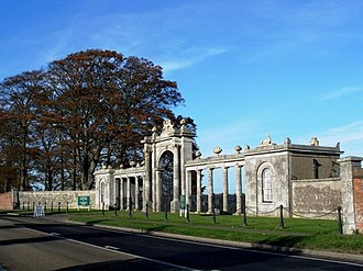 Easton Neston house - The Easton Neston Gate at Towcester Racecourse
