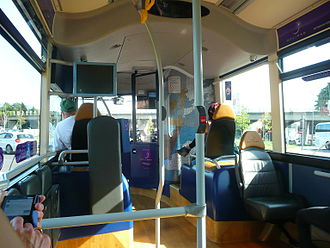 South East Hampshire Bus Rapid Transit - Inside an Eclipse BRT bus. Note the wood effect flooring.