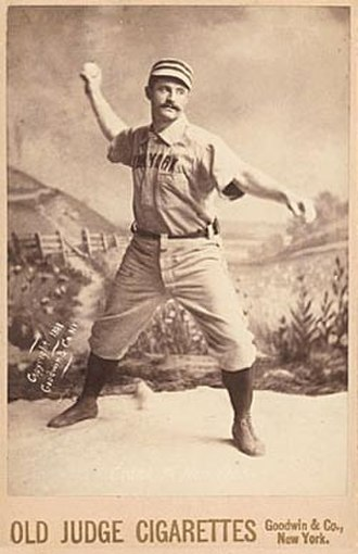 Ed Crane (baseball) - 1887 Old Judge baseball card of Crane