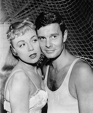 "General Electric Theater - Edie Adams and Louis Jourdan in episode ""A Falling Angel"" (1958)."