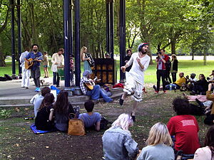 Edward Sharpe and the Magnetic Zeros - The group performing in a park in 2009