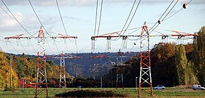 Overhead power line - low-profile power lines near an airfield