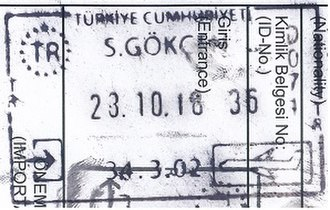 Visa policy of Turkey - Image: Einreisestempel Türkei