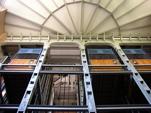 Vehicle elevators in the Old Elbe Tunnel in Hamburg-Steinwerder, Germany
