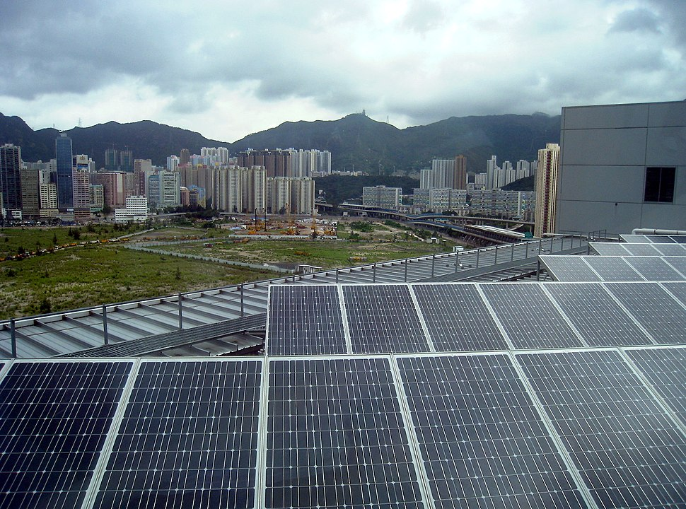 Solar array on rooftop in Hong Kong