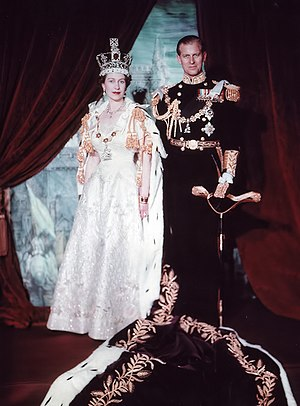 Queen regnant - Elizabeth II of the UK, here with her husband on the occasion of her coronation in 1953