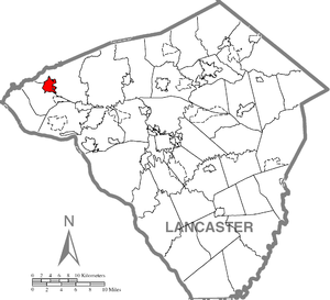 Location of Elizabethtown in Lancaster County