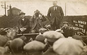 Manny Shinwell - Shinwell (standing) at an election meeting in 1918